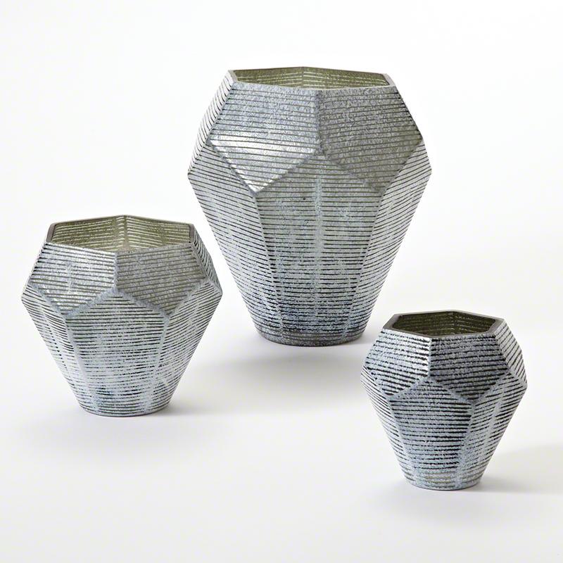 Faceted Stria Vase-Grey