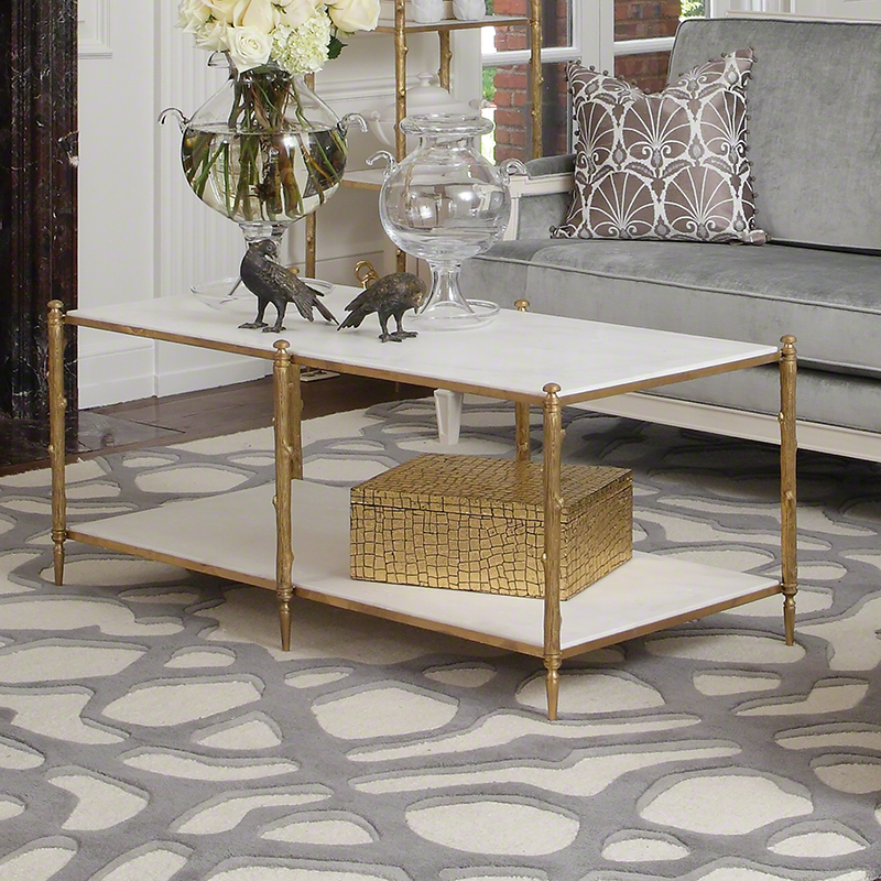 Arbor Cocktail Table-Brass/White Marble