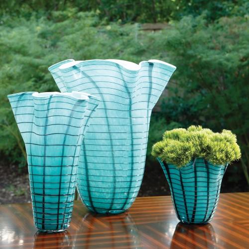 Ripple Vase-Blue-Lg
