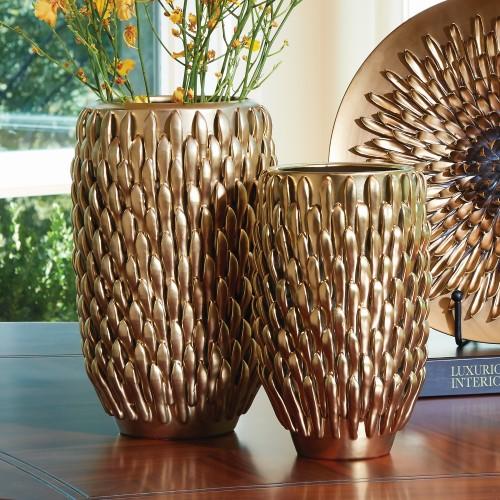Chrysanthemum Vase-Matte Gold