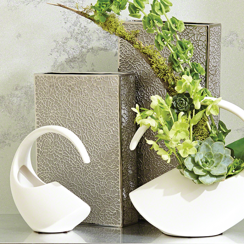 Organic Lace Vase-Silver