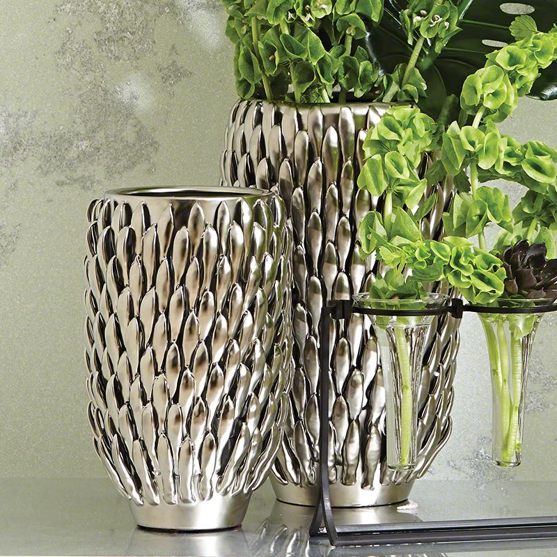 Chrysanthemum Vase-Matte Silver