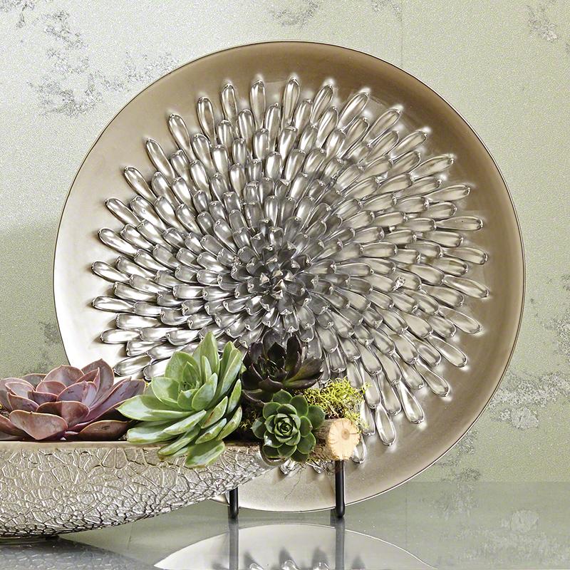 Chrysanthemum Charger-Matte Silver