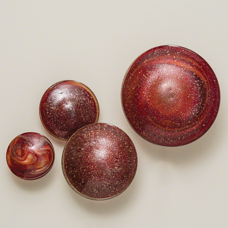S/4 Glass Wall Mushrooms-Red/Orange