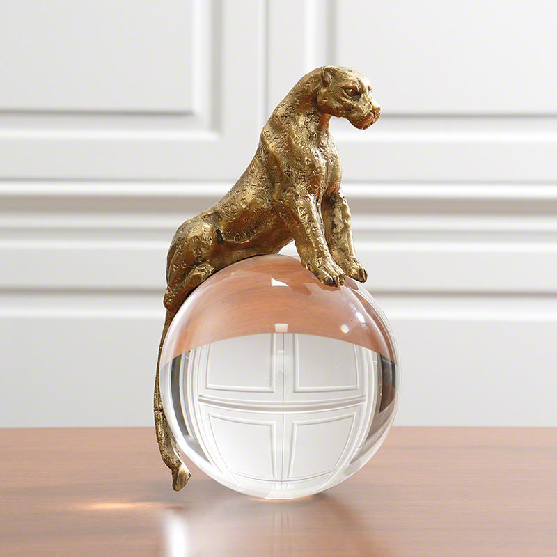 Jaguar on Crystal Sphere-Brass