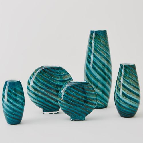 Aqua Green Swirl Round Vase
