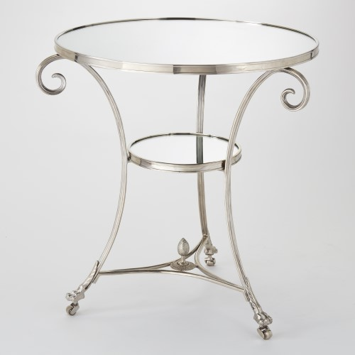 Gueridon Table-Nickel & Mirror