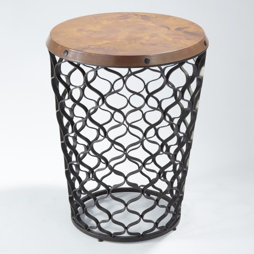 GLOBAL VIEWS Products Small Arabesque Table With Antique Copper Top - Copper top accent table