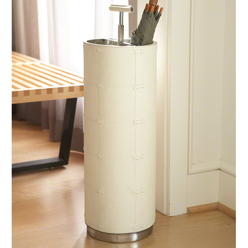Umbrella Stand-Beige Leather