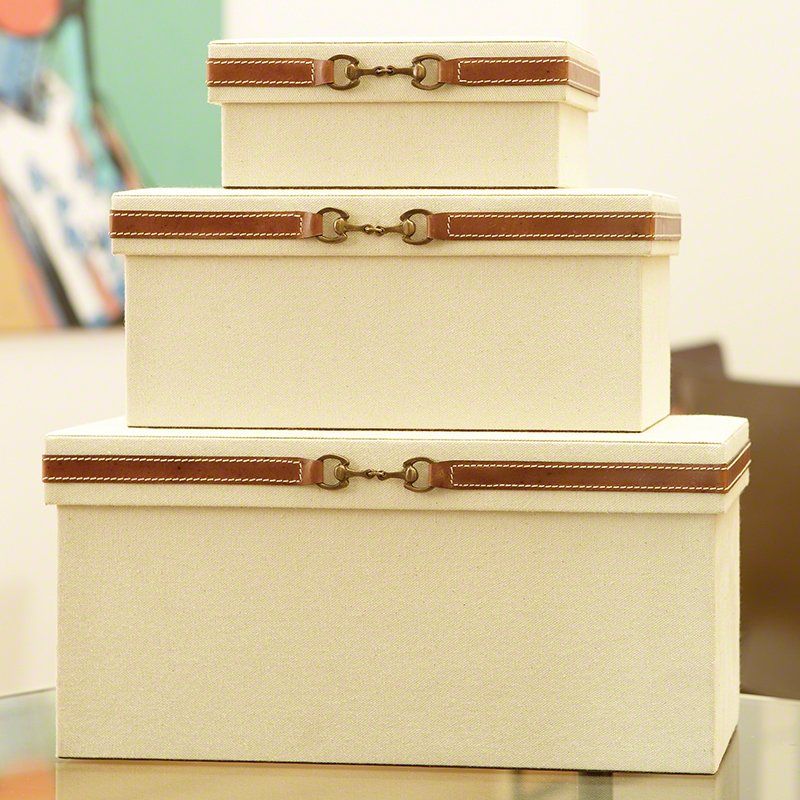 Stirrup Detail Boxes-Canvas & Brown Leather