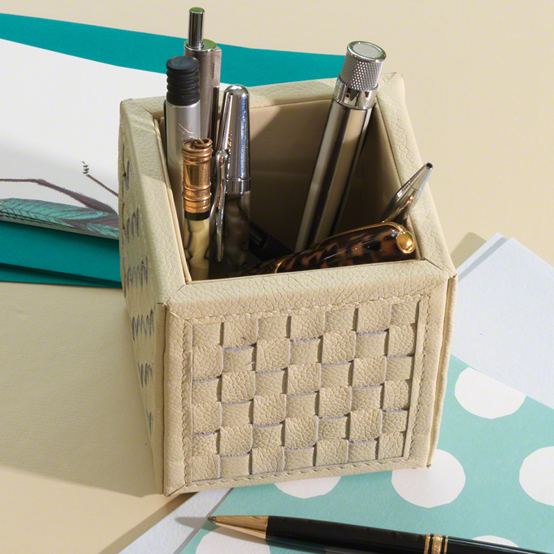 Woven Pencil Cup-Ivory