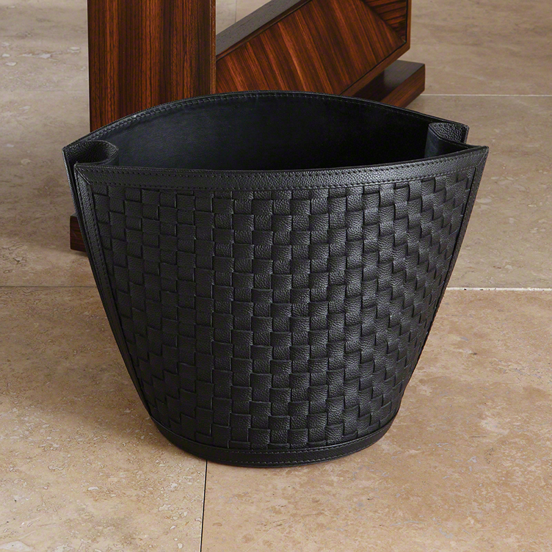 Woven Wastebasket-Black