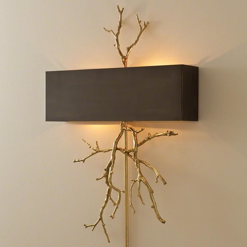 Twig Electrified Wall Sconce-Brass on Brass W/Bronze Shade