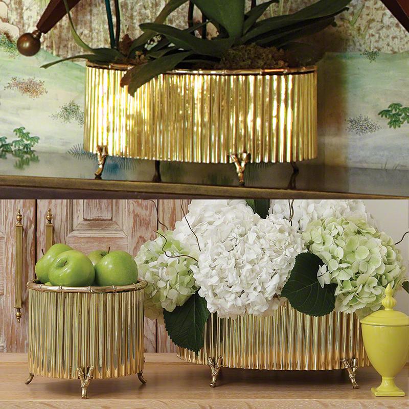 Corrugated Bamboo Cachepot-Brass