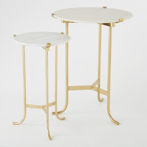 Pli? Table-Polished Brass/White Honed Marble