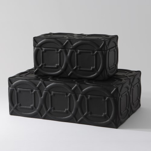 Arabesque Trapunto Box-Black