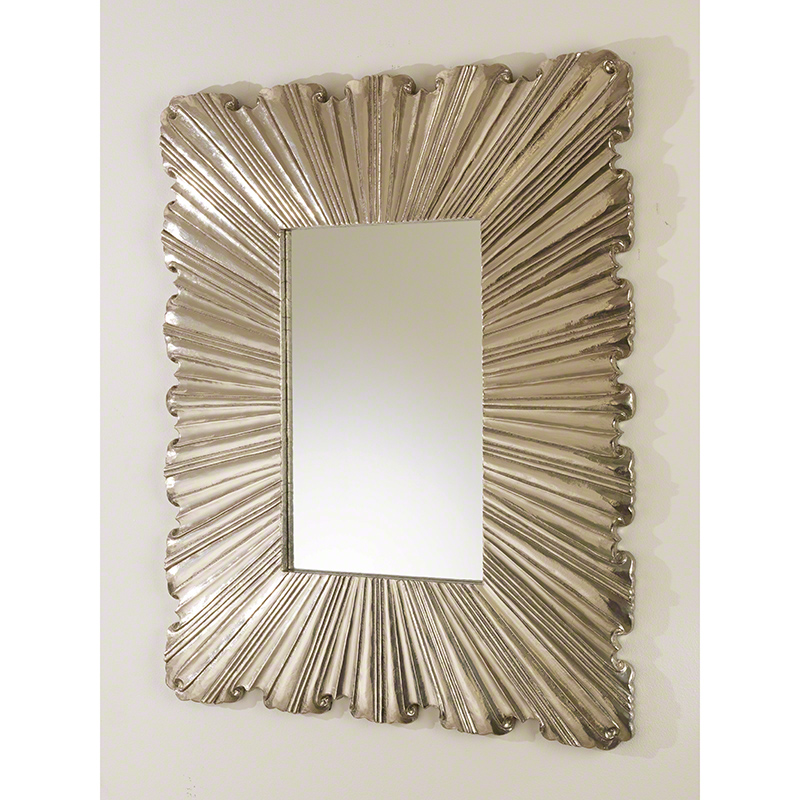 Linen Fold Mirror-Silver