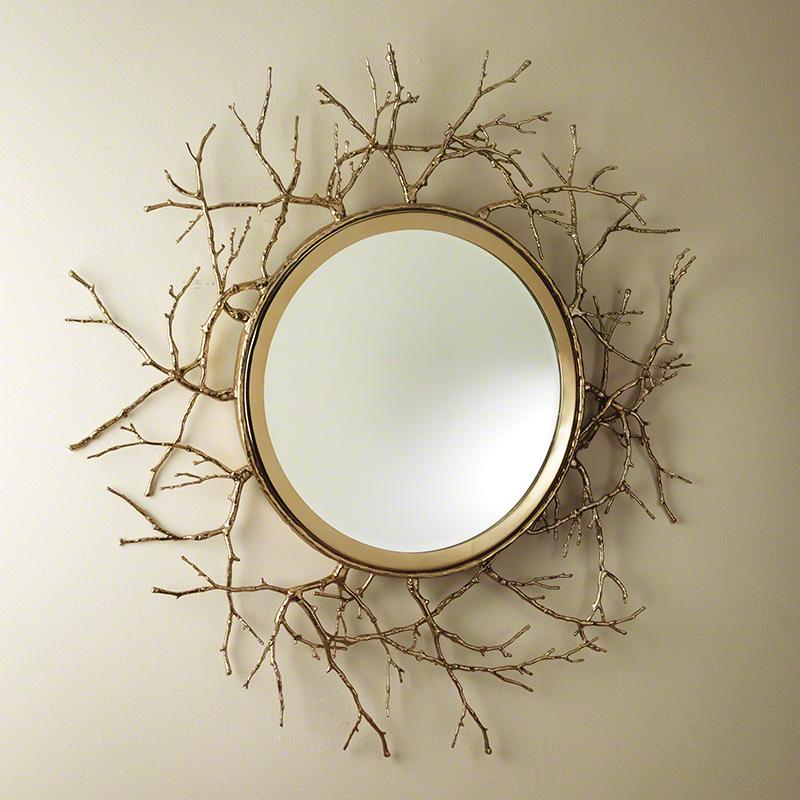 Twig Mirror-Brass
