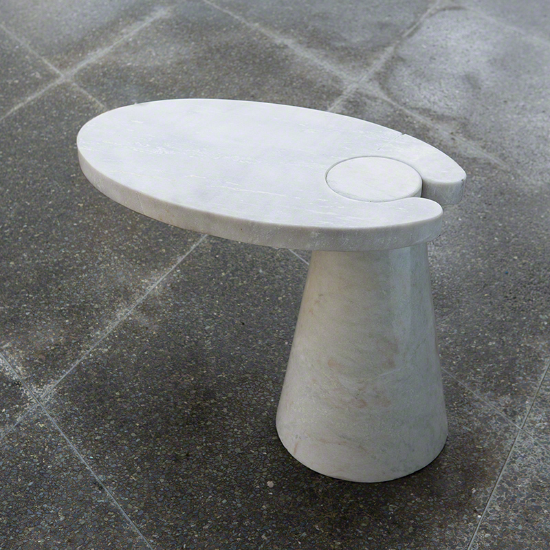 Cone Cantilever Table-White Marble
