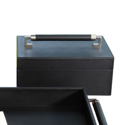 Wrapped Leather Handle Box-Black
