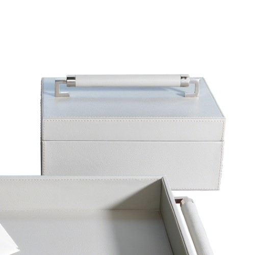 Wrapped Leather Handle Box-Grey