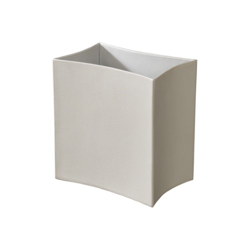 Folded Leather Waste Basket-Grey