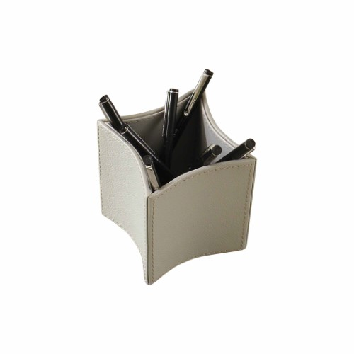 Folded Leather Pencil Cup-Grey
