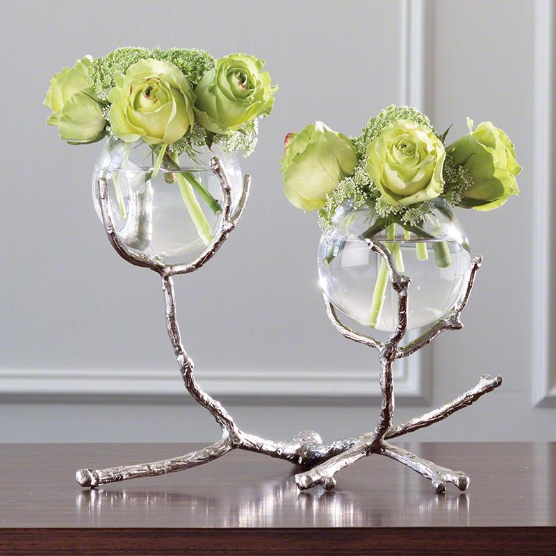 Twig 2 Vase Holder-Nickel
