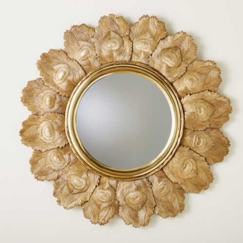 Peacock Feather Mirror-Brass