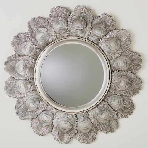 Peacock Feather Mirror-Antique Silver