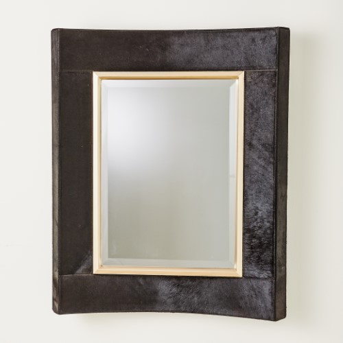 Curved Short Mirror-Black Hair-On-Hide