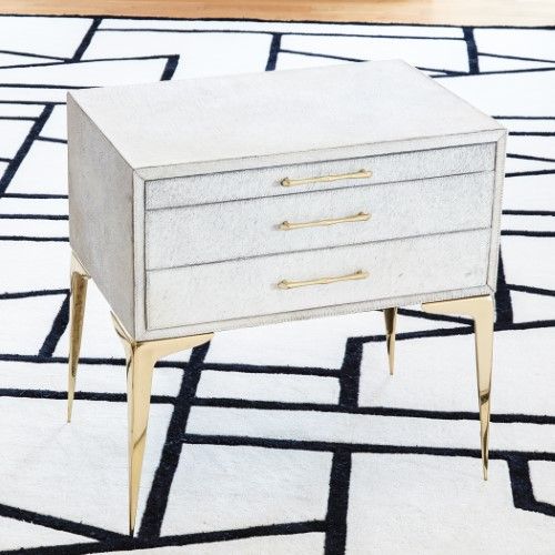 Stiletto Bedside Table-White Hair-on-Hide