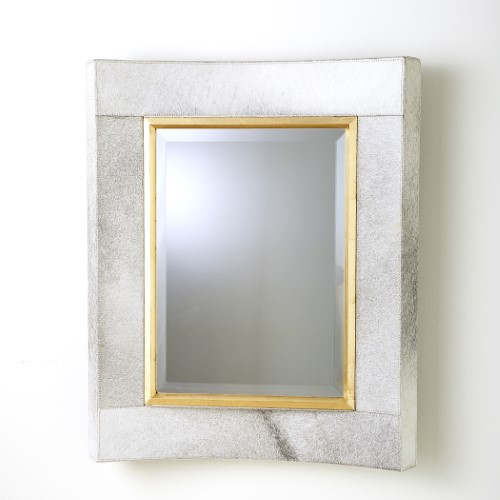 Curved Short Mirror-White Hair-On-Hide