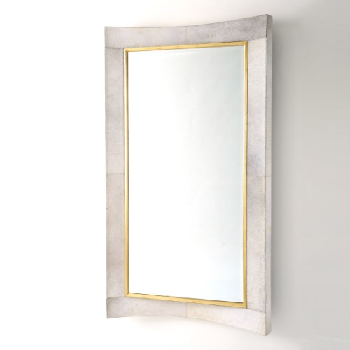 Curved Floor Mirror-White Hair-On-Hide