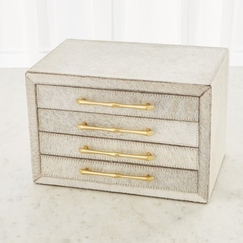 Jacqueline Jewelry Box-White Hair-on-Hide
