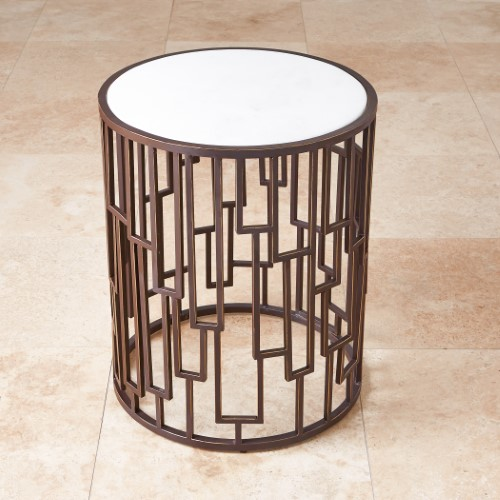 Shingle Barrel Table-White Marble