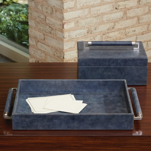 Double Handle Serving Tray-Blue Wash