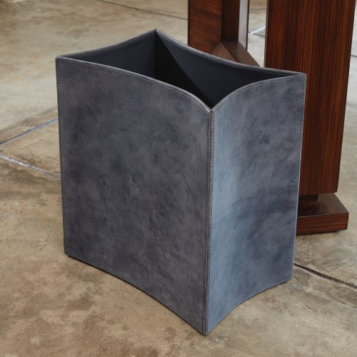 Folded Leather Wastebasket-Blue Wash