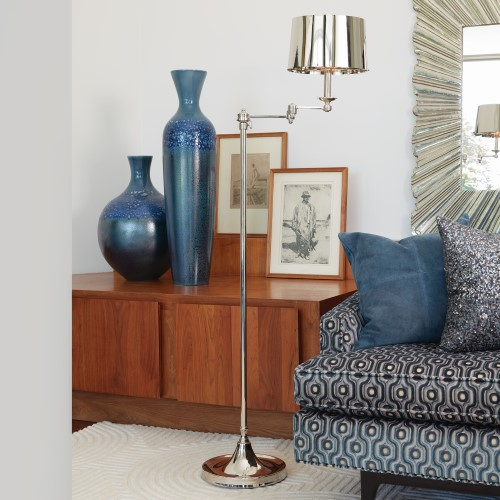 Swing Arm Floor Lamp-Nickel