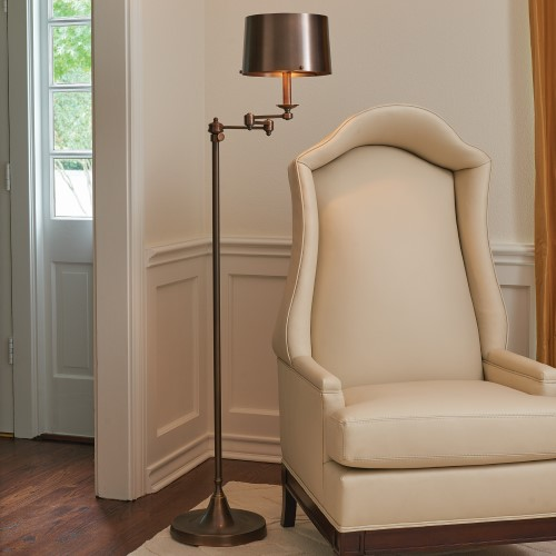 Swing Arm Floor Lamp-Light Bronze