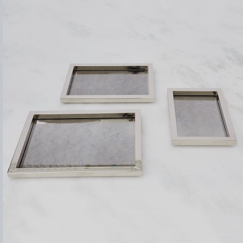 S/3 Stepped Nesting Trays-Nickel