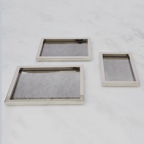 S/3 Stepped Nesting Trays-Nickel