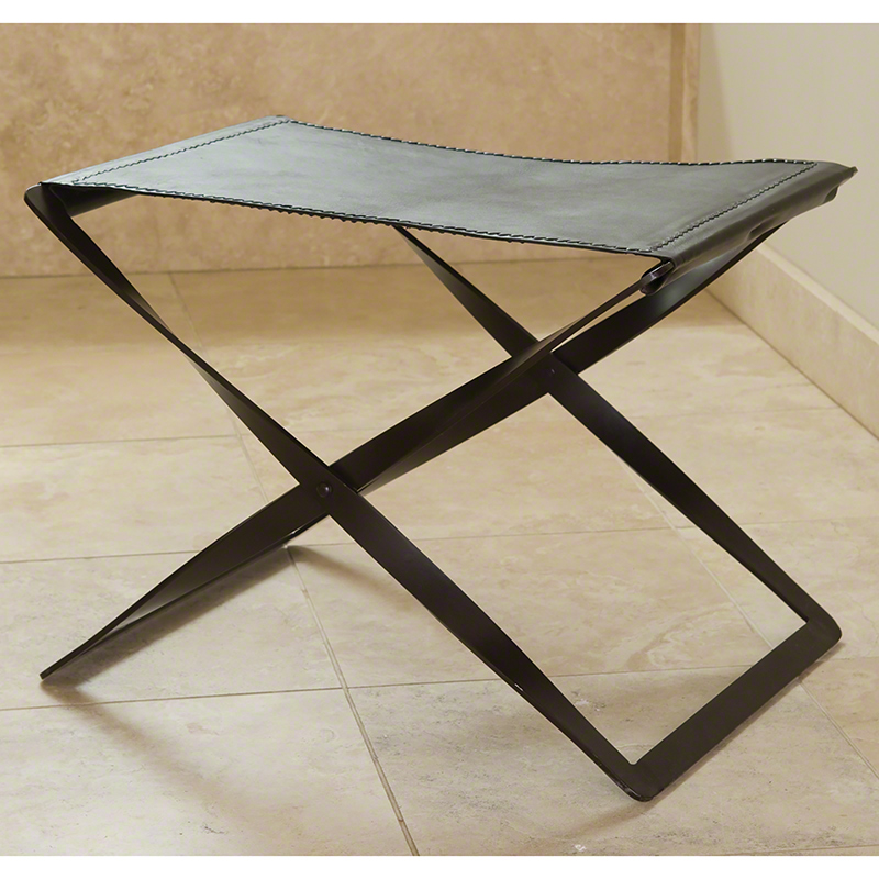 Folding Stool-Iron & Brown Leather