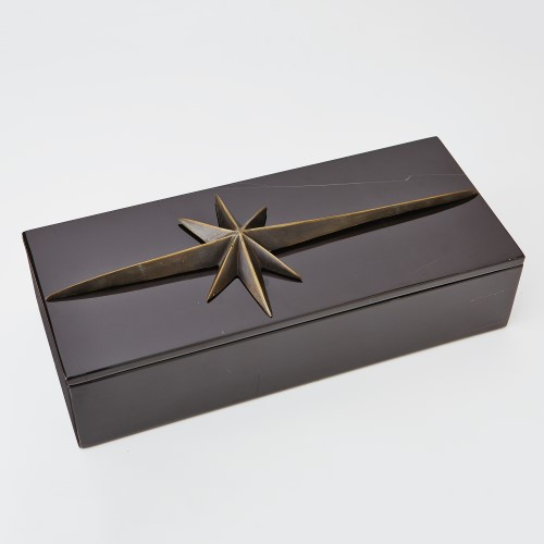 Compass Rose Box Top-Bronze/Black