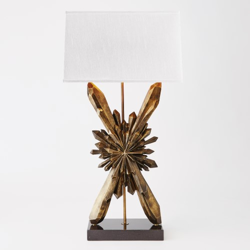 Facet Sunburst Lamp-Bronze W/White Shade