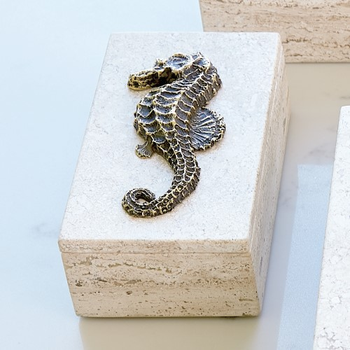 Bronze Seahorse Travertine Box