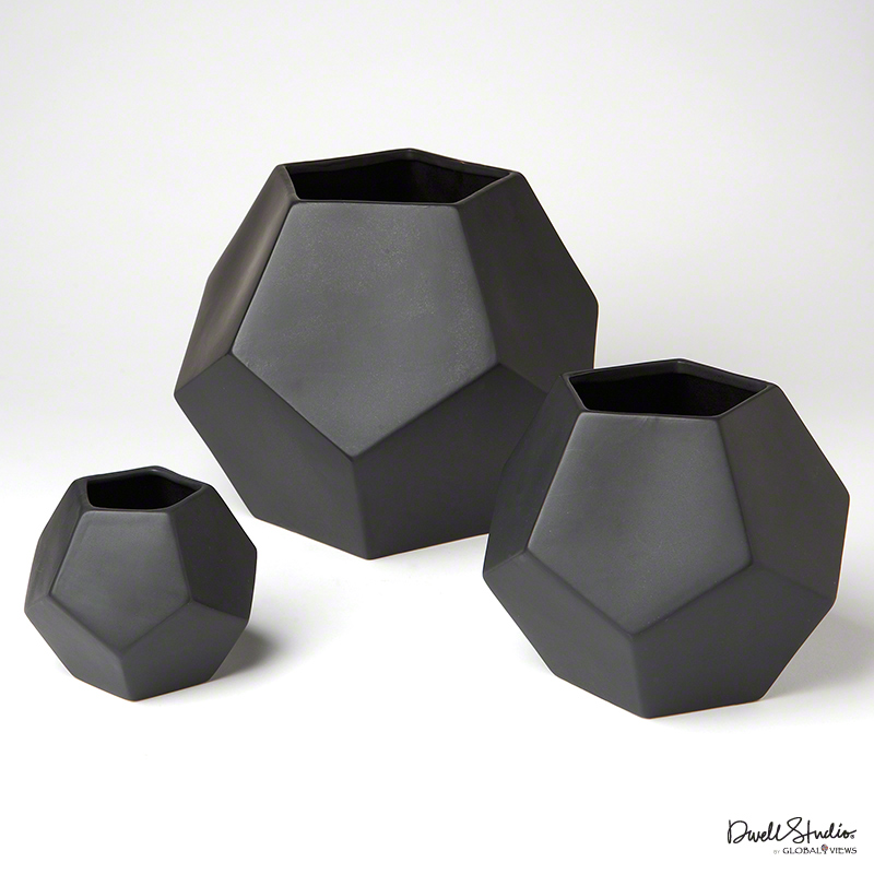 Global Views Products Faceted Vase Black