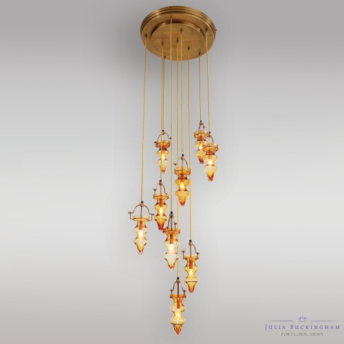Tea Light Chandelier-Amber/Yellow