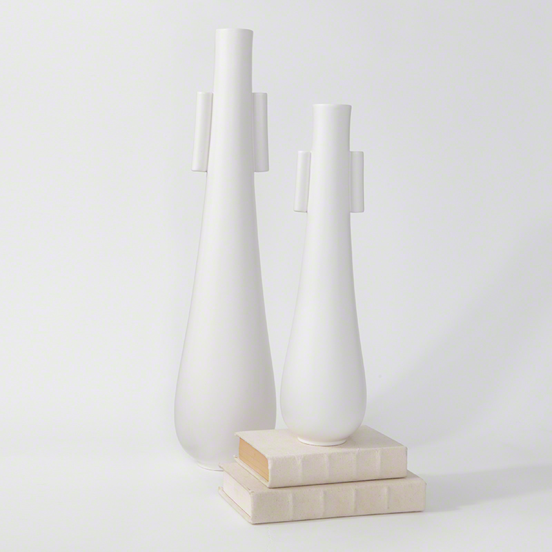 Tear Drop Vases W/Handles-Matte White