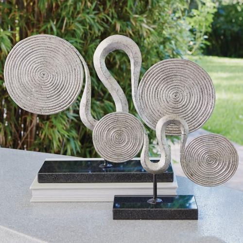 Manchu Scroll Sculpture-Silver Leaf
